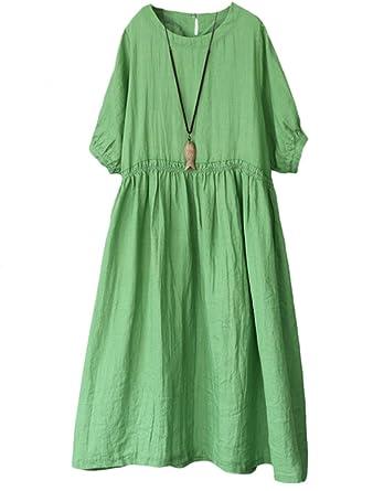 8c458fecda5 Mallimoda Femme Robe D été Coton Lin Manches Courte Chic Plissé Taille Vert
