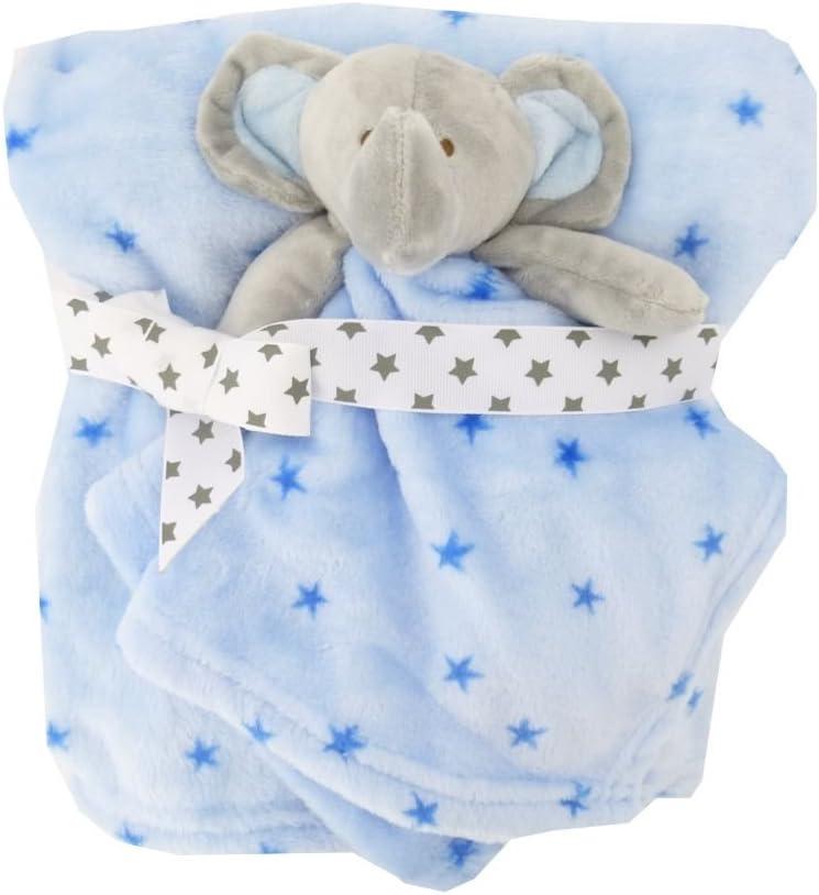 Baby Comforter Blanket Boys /& Girls Animal Snuggle Comfort Blanket Blue Elephant Plushie