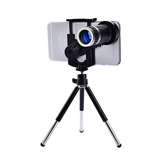 Universal 8X Zoomer Optical Zoom Telescope Mobile Camera Lens Kit with Tripod and Adjustable Holder WireZone