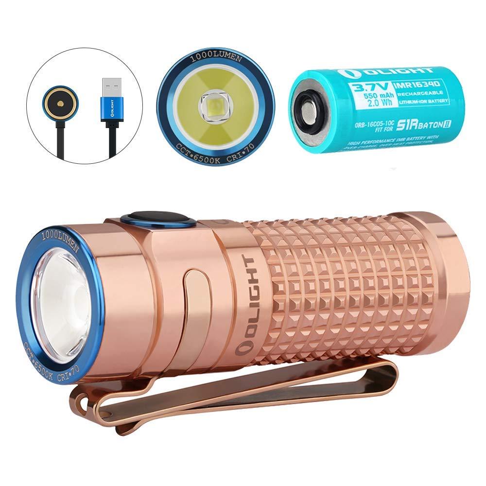 OLIGHT S1R BATON II Cuivre Eternal(/Éternel)Mini Lampe de Poche Rechargeable 1000 Lumens Chargeur MCC II Blanc Froid