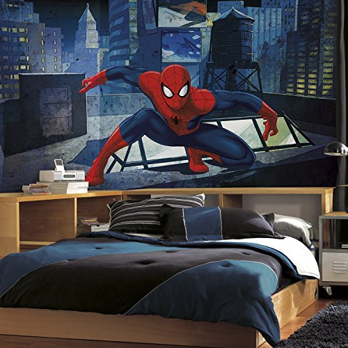 RoomMates JL1406M Ultimate Spiderman Cityscape Xl Chair Rail Prepasted Mural 6' x 10.5' - Ultra-Strippable
