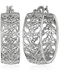 Rhodium-Plated Sterling Silver Filigree Hoop Earrings