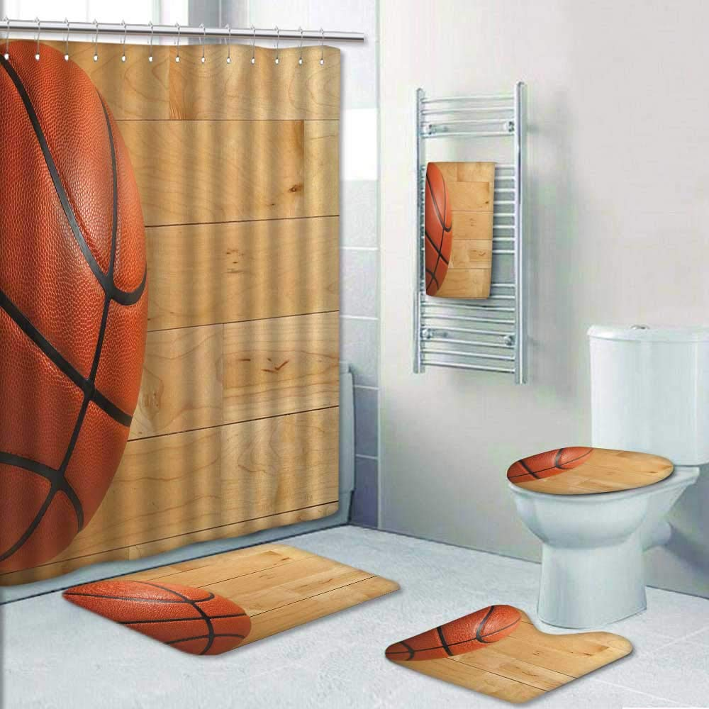 Philip-home 5 Piece Banded Shower Curtain Set Basketball on a Wood Gym Floor viewed from Above Pattern Adornment