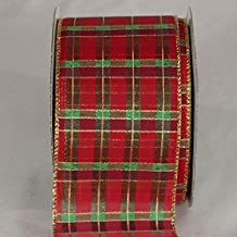 "Red, Gold and Green Metallic Tartan Wired Craft Ribbon 3"" x 20 yards"