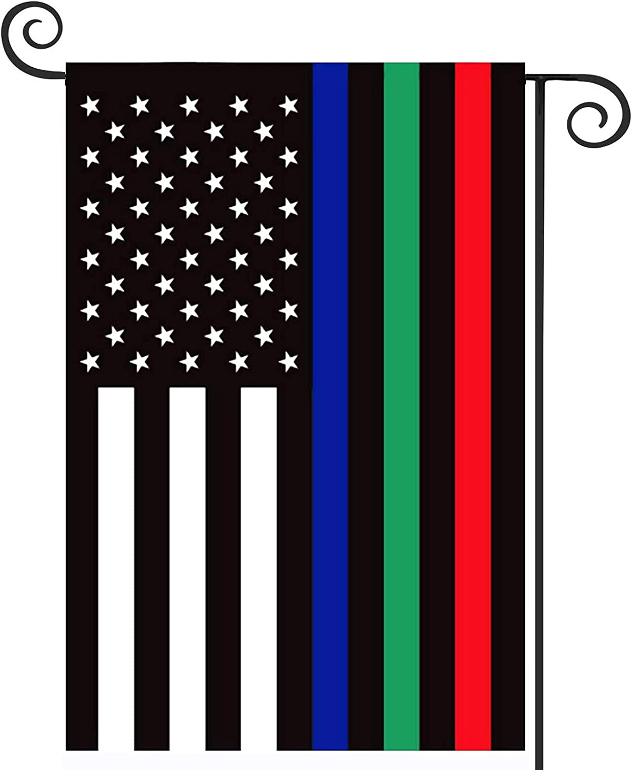 TOPFLAGS Thin Blue Green Red American Flag Garden Flag 12 x 18 - Police Firefighter Military Yard Flags Patriotic Double Sided Small USA Flags for Yard