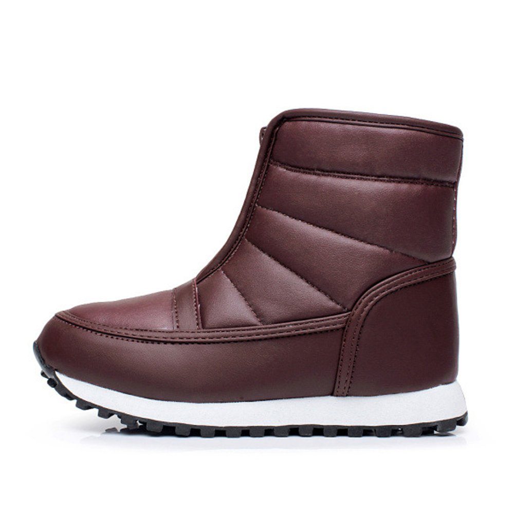 iLory Women's Men's PU Waterproof Zipper Boots Anti Slip Cold Weather Boots