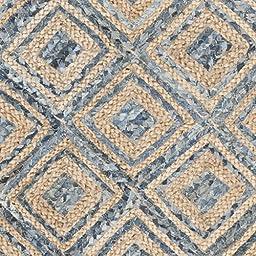 Safavieh Cape Cod Collection CAP354A Hand Woven Flatweave Diamond Geometric Natural and Blue Jute Runner (2\'3\