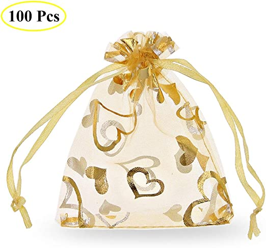12 x 9cm BULK Gold Pull Tie 50 Royal Blue Star and Moon Organza Bags Baby