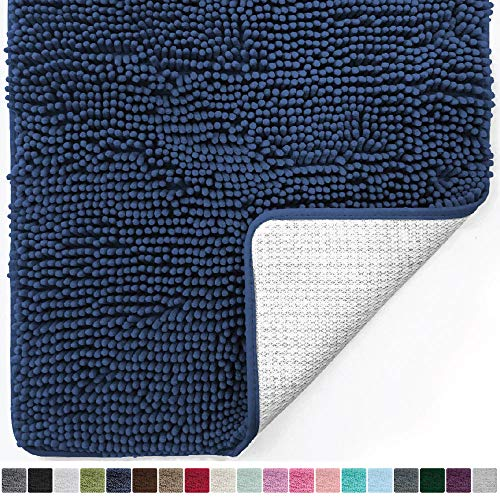 Gorilla Grip Original Luxury Chenille Bathroom Rug Mat (30 x 20), Extra Soft and Absorbent Shaggy Rugs, Machine Wash/Dry, Perfect Plush Carpet Mats for Tub, Shower, and Bath Room (Navy Blue)