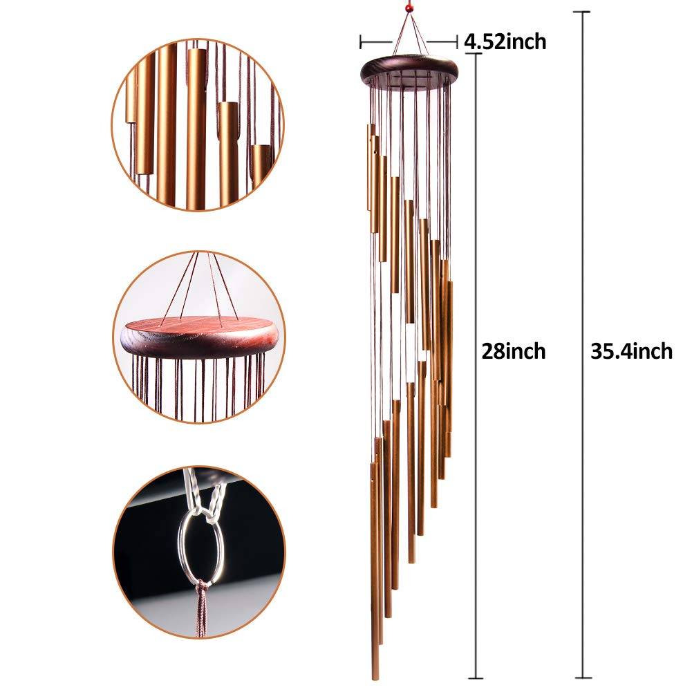 Wind Chimes Outdoor Long Garden Chimes Amazing Grace Wind Chimes Large Deep Tone Wooden Wind Chimes Metal for Home Garden Decoration Golden 4-FQ Wind Chimes