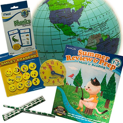 Summer Review and Prep Learning Bundle for Grade 1 to 2, Math, Reading, Phonics, Telling Time and Geography-- Great for Travel and Home