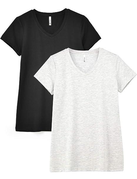 73880867 Zengjo 2-Pack Basic Plain V Neck Slub T Shirts for Women Fitted Short  Sleeve Cotton Modal Knit Tee Shirt at Amazon Women's Clothing store: