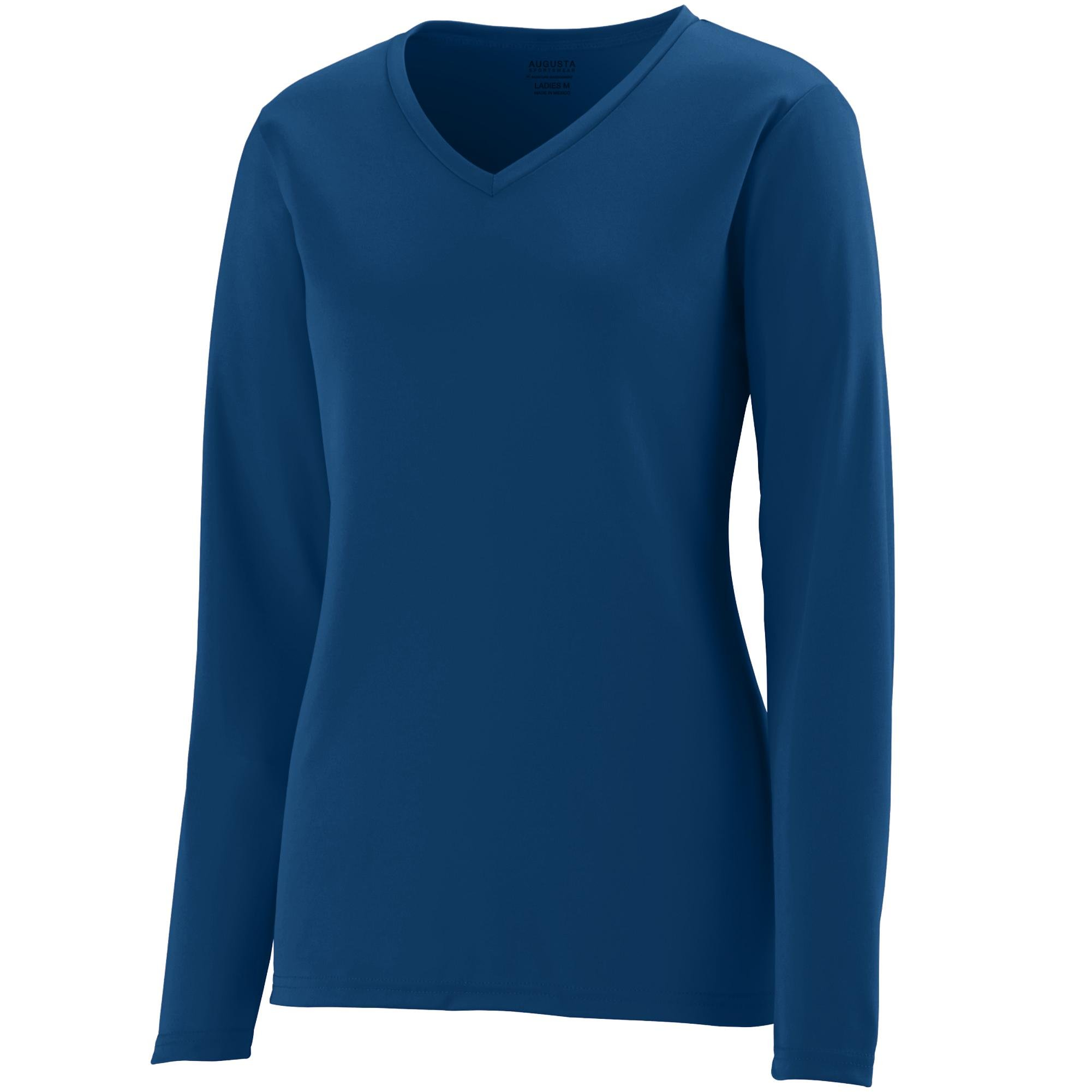 Augusta Sportswear Womens Long Sleeve Wicking T-Shirt, Navy, 3X-Large