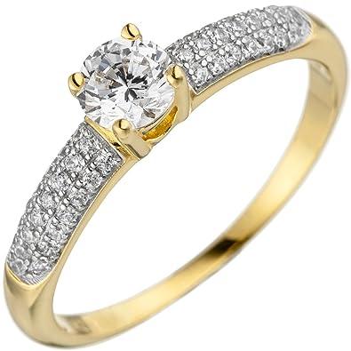 73380f9d2186 Jobo Mujer Anillo Plata de ley 925 dorado oro con circonitas  Amazon.es   Joyería
