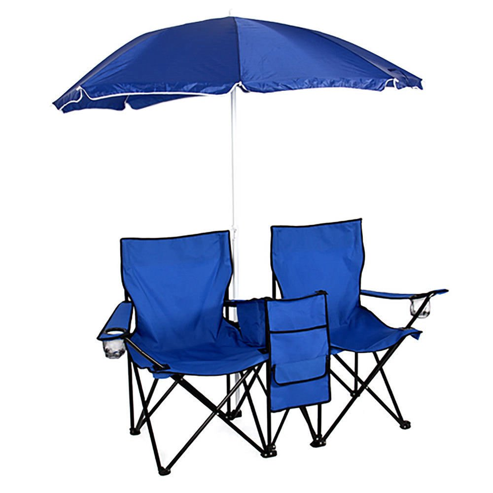Picnic Camping Beach Pool Outdoor Garden Portable 2 Blue Seat Folding Durable Chair Set Removable Umbrella Fishing Sunbath Patio Yard Table Cooler Premium Steel Tube Oxford Materials UV Protect by Zazza95shop
