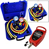 Kyпить ARKSEN A/C Manifold Gauge 3 Hoses High/Low with Air Vacuum Pump A/C Tester Refrigerant Gas Service на Amazon.com