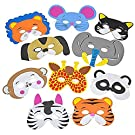 Foam Funny Animal Mask - 12 Pack, for Kids & All Ages, Party, Halloween, Dress-Up, Prop, Costume with Elastic Strap – by Kidsco