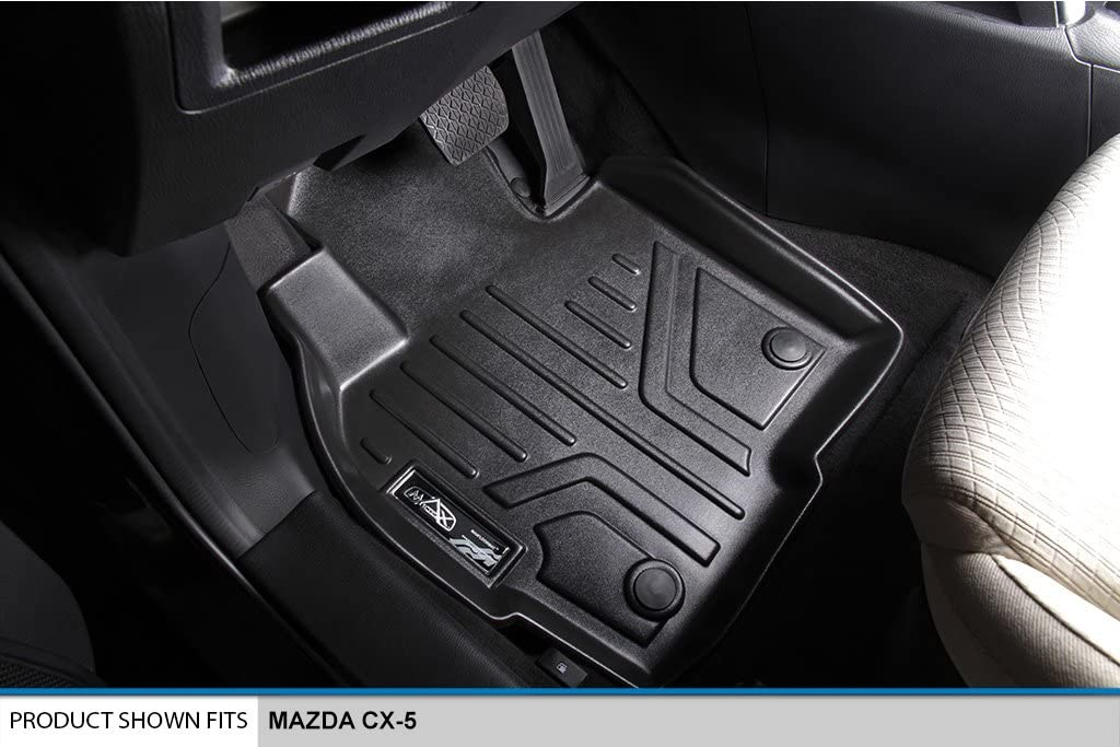 SMARTLINER Floor Mats 2 Row Liner Set Black for 2017-2018 Mazda CX-5 MAXLINER A0301//B0301