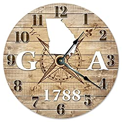 GEORGIA CLOCK Established in 1788 Decorative Round Wall Clock Home Decor Large 10.5 COMPASS MAP RUSTIC STATE CLOCK Printed Wood Image