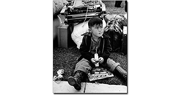 Other Militaria Wwii Young Boy Tagged For Relocation 8x10 Silver Halide Photo Print