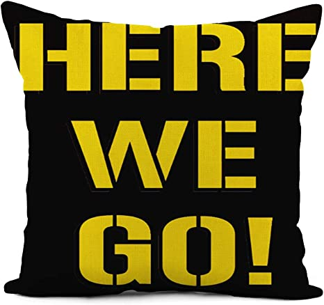 Topyee Throw Pillow Cover 16x16 Inch Pittsburgh Here We Go Steelers Football Home Decor Pillowcases Square Pillow Cases Cushion Covers For Sofa Couch Bed Home Kitchen