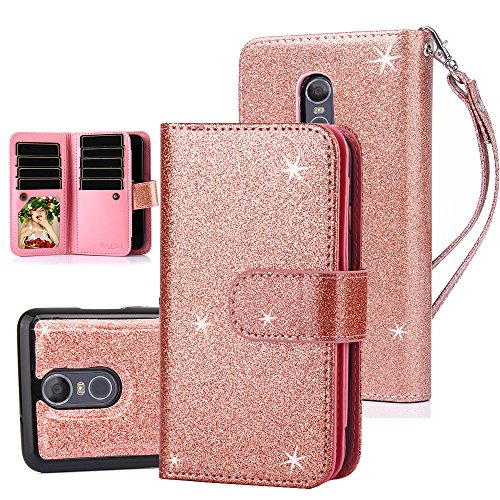 TabPow LG Stylo 3 Case, 10 Card Slot - ID Slot, Button Wallet Folio PU Leather Case Cover With Detachable Magnetic Hard Case For LG Stylo 3/ LG Stylo 3 Plus -Rose Gold