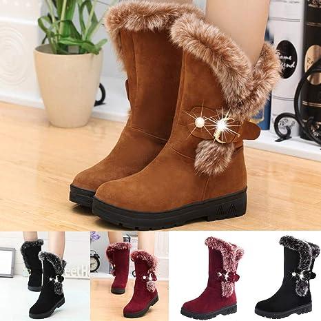 JiaMeng Mujeres Totalmente Alineada Boots Slip-On Soft Botas de Nieve Botines Planos de Piel de Invierno con Punta Redonda(Caqui,EU38): Amazon.es: Ropa y ...
