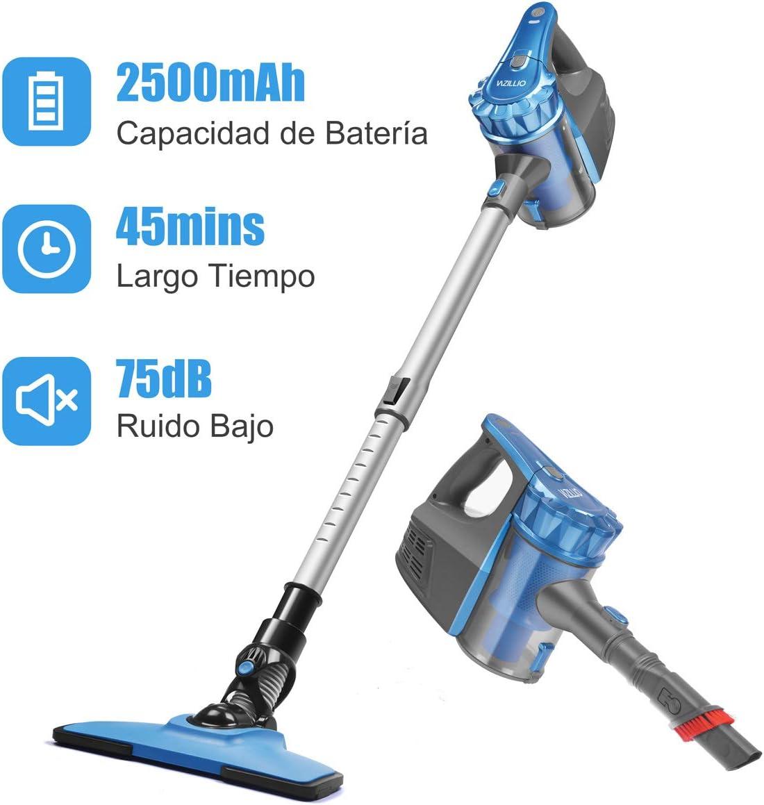 Aspiradora Escoba sin Cable, Aspirador de Mano Ultraligero y Inalámbrico, 0.8L, 2 Velocidades 9000PA Potente 2500mAh Batería Recargable Ion-Litio para Hogar Azul