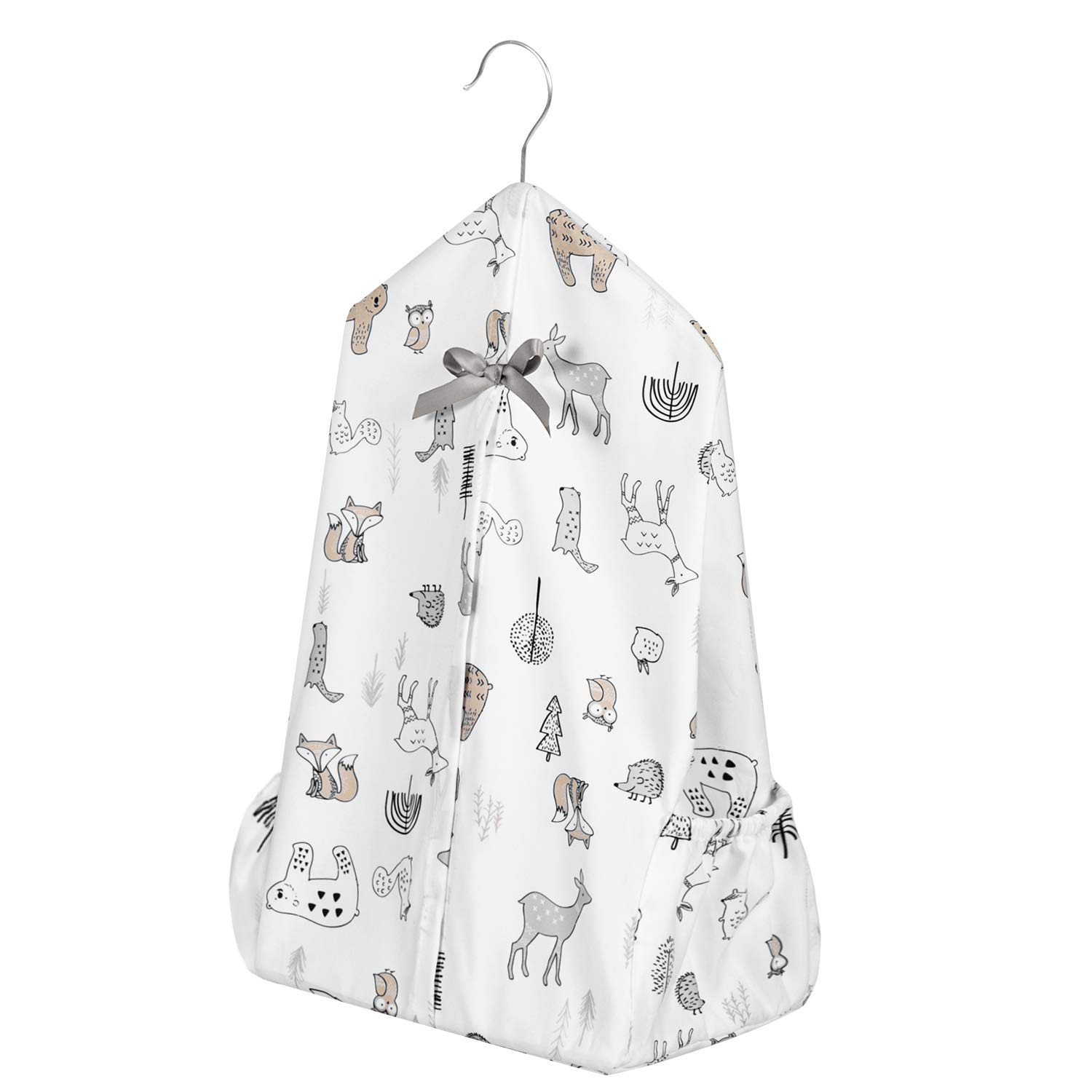 Upgraded Tillyou Hanging Nursery Diaper Storage Organizer Portable Foldable Diaper Caddy Stacker With Side Pockets For Crib Machine Washable And Roomy Space Diy 3 Parts Included Woodland Animals Baby