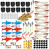 300 Piece Pirate Party Favor Pirate Party Pack; Gold Coins, Pirate Tattoos, Skull Rings, 29.5'' Sword Inflates, 22.5'' Shark Inflates, Eye Patches, Beards (Pirate Party Favor Set for 12)