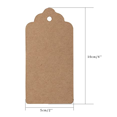91ce8c74ea75 G2PLUS 100 PCS Kraft Gift Tags 5 CM * 10 CM Blank Label Paper Wedding  Labels Birthday Luggage Tags Brown Hang Tag with 30 Meters Jute Twine