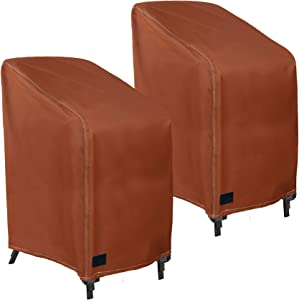 NettyPro Patio Stackable Chair Covers Set 2, Waterproof Outdoor Stack Chair Furniture Covers, 26 W x 35 D x 45 H Inch, Brown