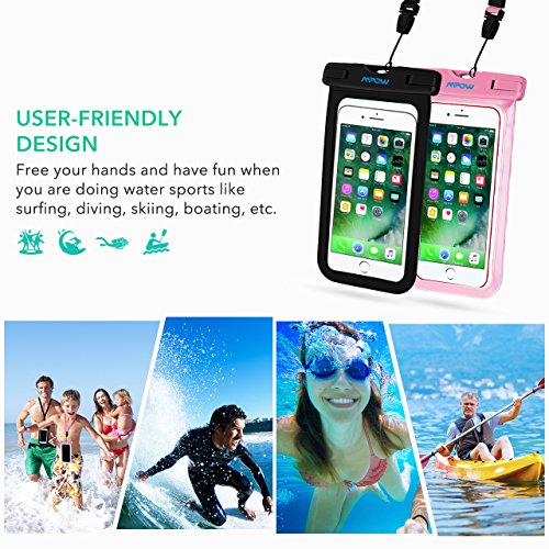 Mpow Universal Waterproof Case, IPX8 Waterproof Phone Pouch Dry Bag Compatible for iPhone Xs Max/Xs/Xr/X/8/8plus/7/7plus/6s/6/6s Plus Galaxy s9/s8/s7 Google Pixel HTC12 (Black+Pink 2-Pack) by Mpow (Image #5)