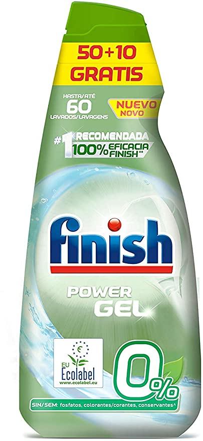 Finish 0% Gel Detergente para Lavavajillas, Certificado ...