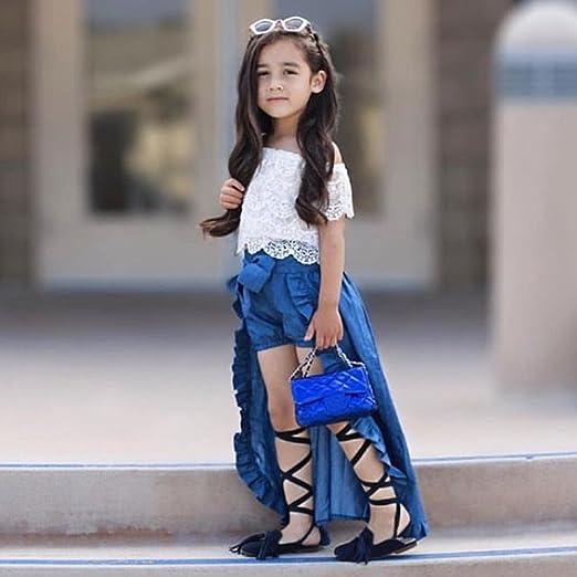 LanLan 3 pcs/Set Moda Chic bebé Niña Ropa Set Encaje Cuello Barco ...
