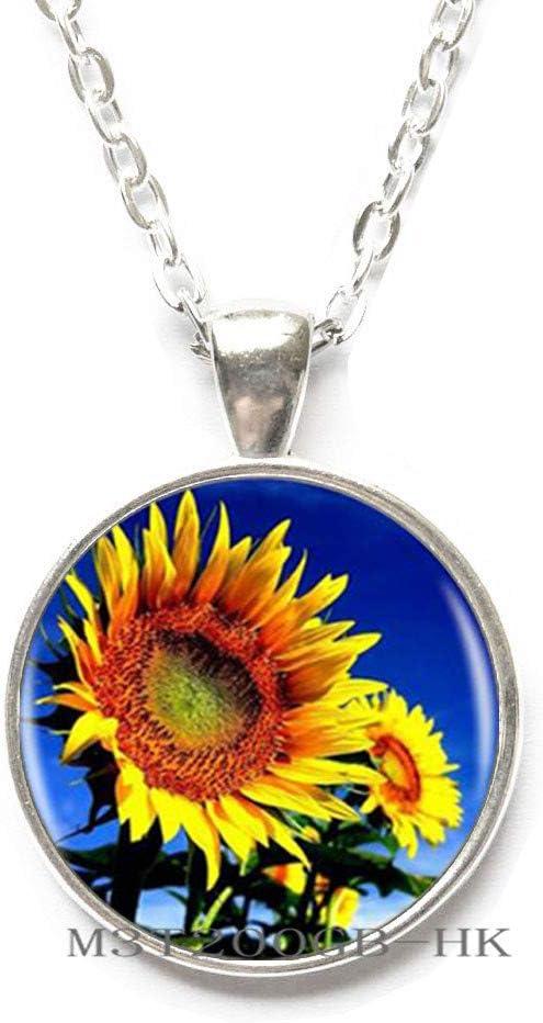 floral print Necklace woman pendant glass cabochon