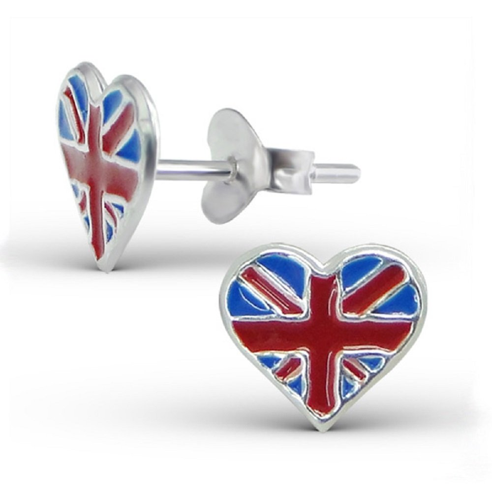 925 Sterling Silver England Heart Stud Earrings 13274