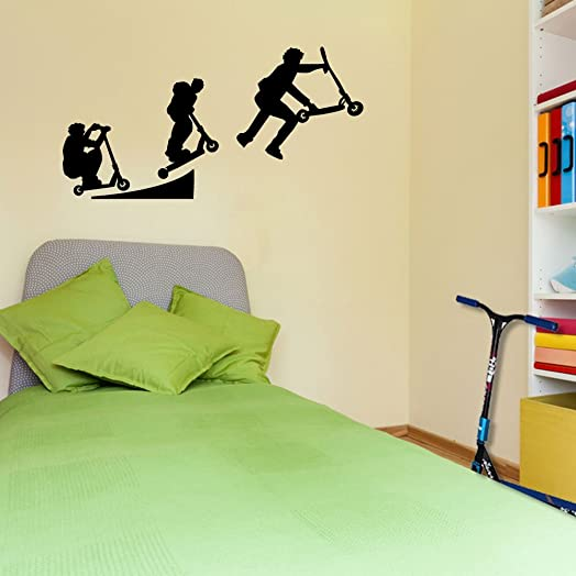 Stunt Scooters Sports Evolution Scotter Style 4 Wall Decorations Window Stickers  Wall Decor Wall Stickers Wall Part 49