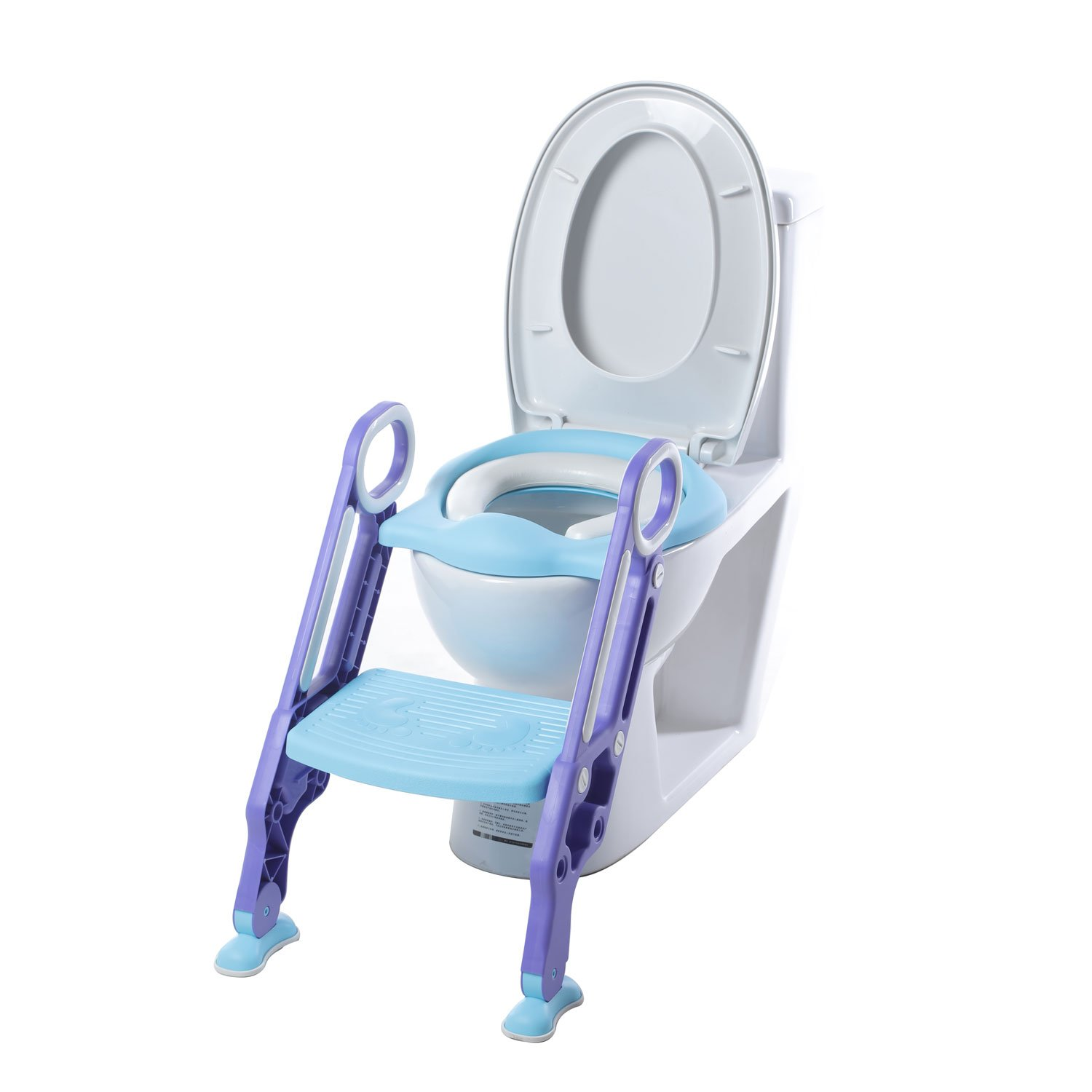 Toddler Toilet Seat with Ladder Adjustable Potty Training Toilet Non-Slip Step Stool (Blue)