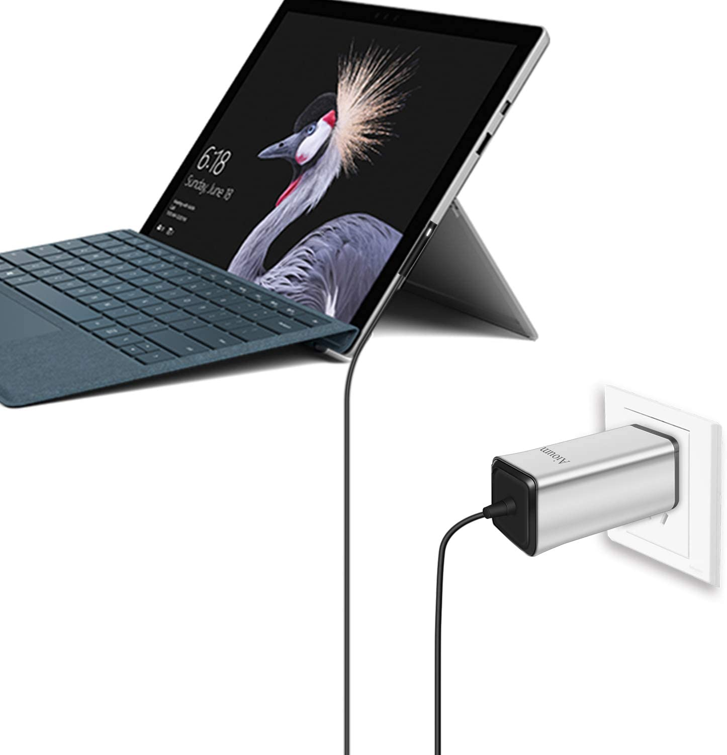 Aioum Surface Go Charger 65W,Fast Laptop Power Supply 15V 4A for Microsoft Surface Book Surface Pro 3 Pro 4 Pro 5 Pro 6 Pro 7 Surface Go,Surface Laptop,Microsoft Surface Charger with 6Ft Cord (Silver)