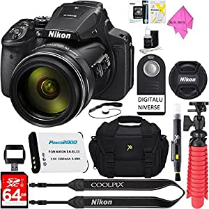 Nikon COOLPIX P900 16MP 83x Super Zoom 4k Wi-Fi GPS Digital Camera + 64GB Memory & Accessory Bundle