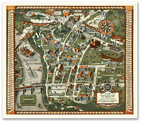 Minnesota Twins Framed Wall (University of Minnesota Campus Guide MAP circa 1927 - measures 24