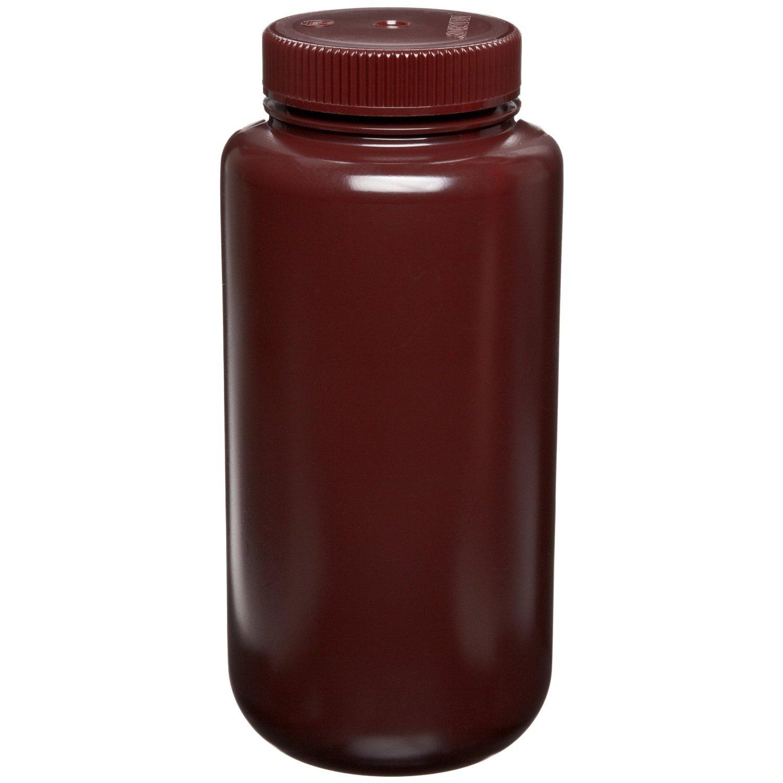 Nalgene 2106-0016 Amber Bottle, Wide-Mouth, HDPE, 500mL (Pack of 12)