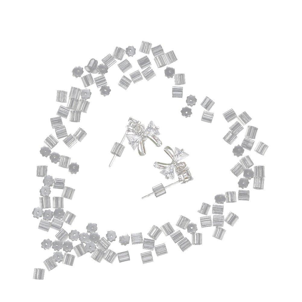 Shintop 100 piezas pendiente seguridad Backs, suave silicona cierres de pendientes (transparente): Amazon.es: Hogar
