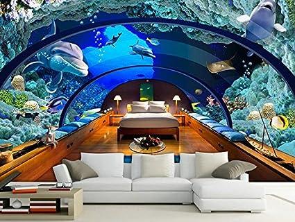 Lwcx 3d Customized Wallpaper Mural Aquarium Underwater World