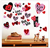 #8: 140PCS Valentines Day Window Clings Hearts Wall Decals Stickers Decorations Party Supplies For Home (4 Sheets)