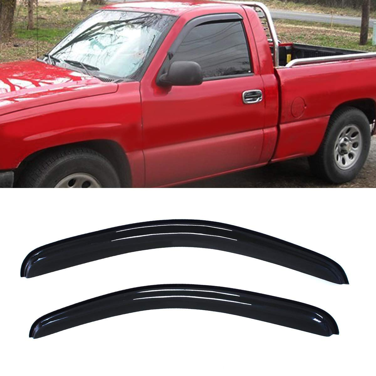 4pcs Light Grey Out-Channel Rain Guards Chevy Silverado Double//Ext Cab 2007-2013