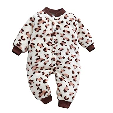 5a8738aac Amazon.com  Wesracia Newborn Baby Cartoon Leopard Print Long Sleeve ...