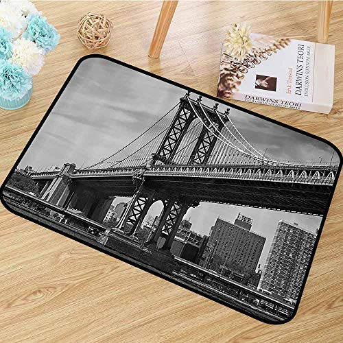 New York Non Slip Rugs Bridge of NYC Vintage East Hudson River Image USA Travel Top Place City Photo Art Print Anti-Static W55 x L63 Grey]()