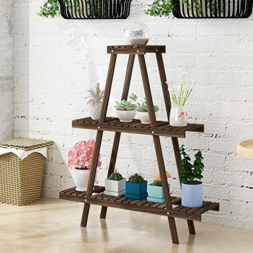 LIZX 3 Tier Trapezoidal Flower Rack, Indoor Plant Display Stand, Multi-functional Flower Pot Rack, Simple Shelves ( Color : Brown ) by Flower Pot Stand